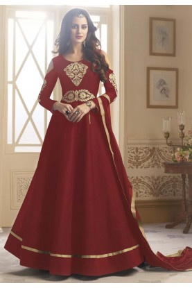 Anarkali Style Maroon Color with Embroidered Work Wonderful Unstitched Salwar Kameez