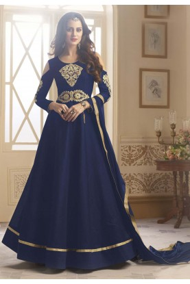 Blue Color Silk Fabric Incredible Salwar Kameez in Anarkali Style