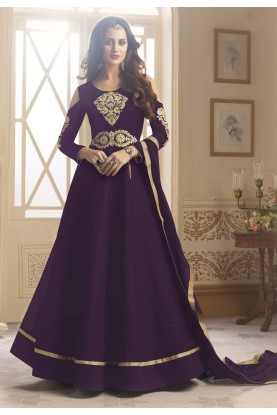 Nice Looking Purple Color Designer Salwar Kameez