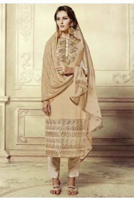 Beige Color Georgette Fabric Incredible Salwar Kameez in Straight Cut Style