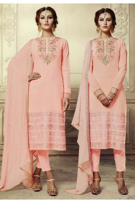 Peach Color Georgette Fabric Incredible Unstitched Salwar Kameez