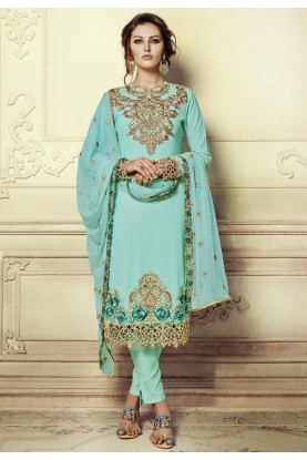 Turquoise Color Georgette Incredible Unstitched Salwar Kameez