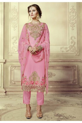 Nice Looking Pink Color Designer Salwar Kameez in Georgette Fabric