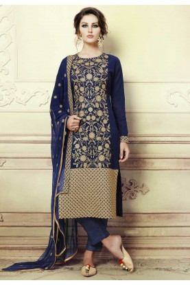 Blue Color Georgette Party Wear Salwar Kameez