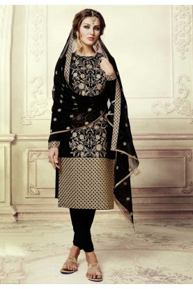 Straight Cut Style Incredible Salwar Kameez in Black Color & Art Silk Fabric