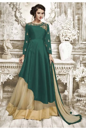 Anarkali Style Wonderful Salwar Kameez in Green Color Silk Fabric