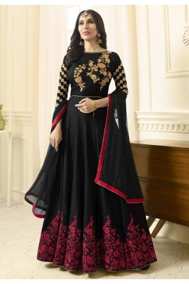 Anarkali Style Black Color Raw Silk Wonderful Salwar Kameez