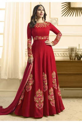 Attractive Looking Red Color Designer Salwar Kameez