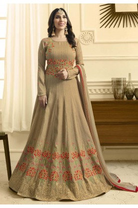 Nice Looking Beige Color Anarkali Salwar Kameez