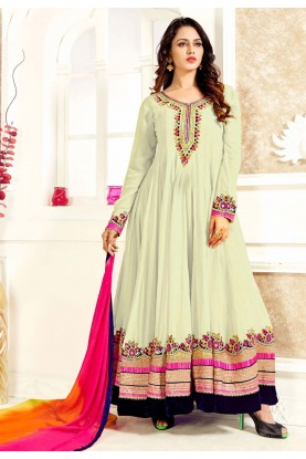 Anarkali Style Off White Color Georgette Astounding Unstitched Salwar Kameez