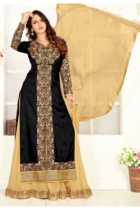 Black Color Art Silk Party Wear Salwar Kameez