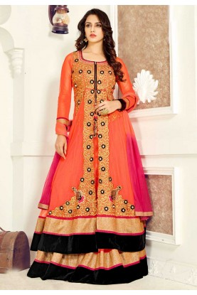 Attractive Looking Orange Color Anarkali Salwar Kameez