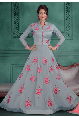 Grey Color Designer Salwar Kameez