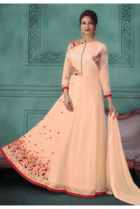 Peach Color Party Wear Salwar Kameez