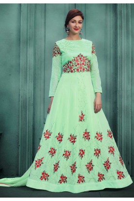 Attractive Looking Green Color Designer Salwar Kameez