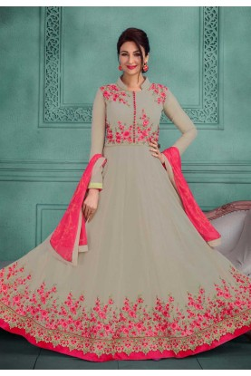 Anarkali Salwar Kameez in Grey Color
