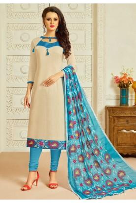 Beige Color Cotton Incredible Unstitched Salwar Kameez