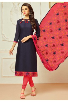 Blue Color Cotton Incredible Salwar Kameez in Straight Cut Style