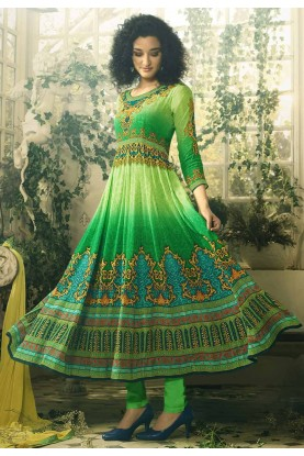 Traditional Look Green Color Readymade Salwar Kameez.