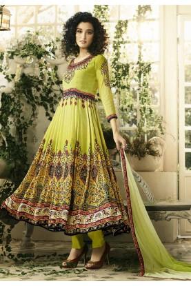 Green Color Crepe Silk Anarkali Salwar Kameez