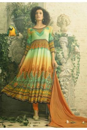 Anarkali Style Incredible Salwar Kameez in Orange Color