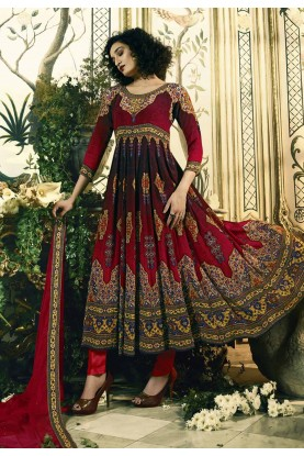 Nice Looking Red Color Party Wear Salwar Kameez