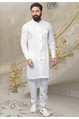 White Color Linen Readymade Kurta Pyjama.