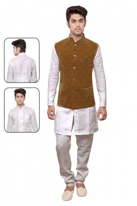 Designer Kurta Pyjama in White,Golden Color