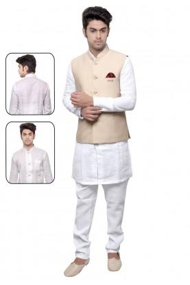 White,Cream Color Party Wear Kurta Pyjama.