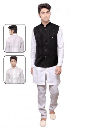 Exquisite White,Black Color Readymade Kurta Pyjama With Jacket.