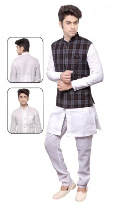 Men's Exquisite White,Grey Color Readymade Kurta Pajama.