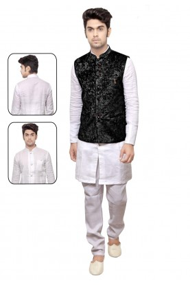 Exquisite White,Black Color Men's Readymade Kurta Pyjama With Jacket.
