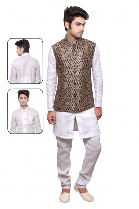 White,Golden Color Designer Kurta Pyjama.