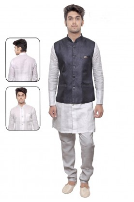 Men's Exquisite White,Blue Color Linen,Cotton Readymade Kurta Pajama.