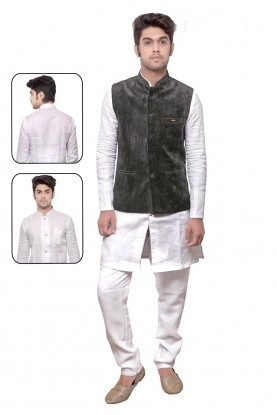 White,Grey Color Readymade Kurta Pyjama With Jacket.