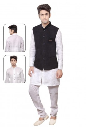 Exquisite White,Black Color Men's Readymade Kurta Pyjama.