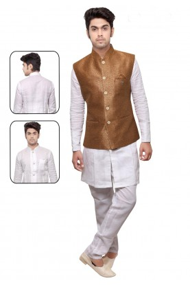 White,Golden Color Party Wear Kurta Pyjama With Jacket.