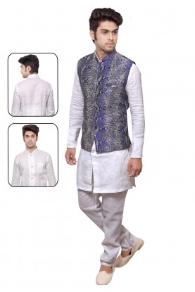 White,Blue Color Readymade Kurta Pyjama.