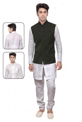 White,Green Color Linen,Cotton Kurta Pajama With Jacket.