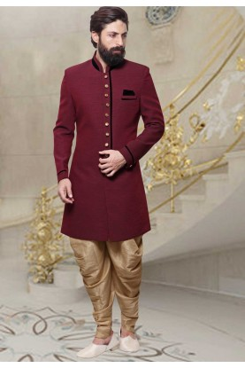Men's Jute Fabric Maroon Color Men's Indo Western
