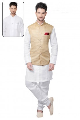 Men's Linen White,Cream Color Readymade Kurta Pajama.