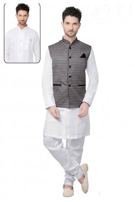 Men's White,Grey Color Readymade Kurta Pajama.