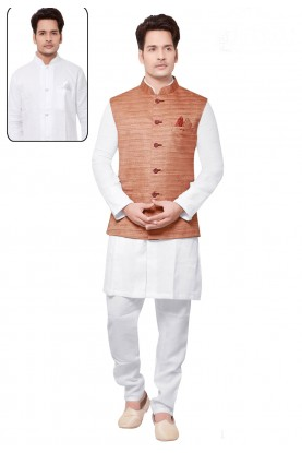 White,Peach Color Readymade Kurta Pajama.