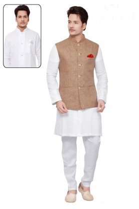 White,Beige Color Traditional Kurta Pajama.