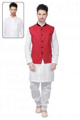 White,Red Color Cotton Kurta Pajama.