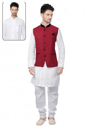 Exquisite Men's White,Maroon Color Readymade Kurta Pajama.