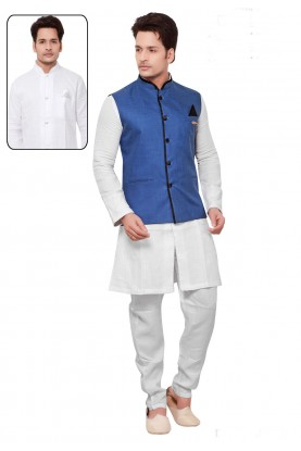 Men's Linen,Cotton Fabric White,Blue Color Readymade Kurta Pajama.