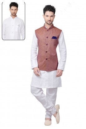 Exquisite Men's White,Peach Color Readymade Kurta Pyjama With Jacket.