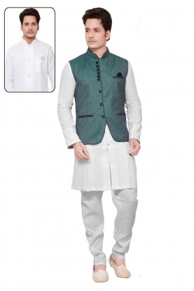 White,Green Color Readymade Kurta Pajama With Jacket.