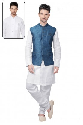 White,Blue Color Linen Kurta Pajama With Jacket.